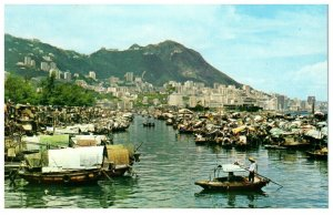Boat People In The Causeway Bay Typhoon Shelter Hong Kong Postcard PC1046