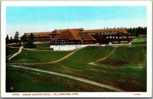 Vintage YELLOWSTONE NATIONAL PARK Postcard Grand Canyon Hotel Haynes c1930s