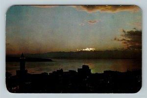 Seattle WA- Washington, Puget Sound at Sunset, City Skyline, Chrome Postcard