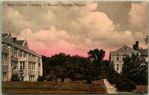 1910s University of Missouri Postcard White Campus HAND-COLORED Columbia, MO
