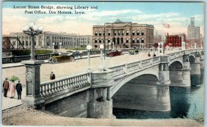 1920 Des Moines, Iowa Postcard Locust Street Bridge, w/ Library & Post Office