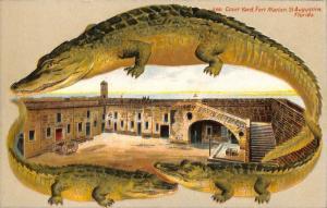 Langsdorf Alligator Border St Augustine FL Fort Marion S 551 Postcard