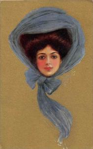 view of a woman wearing blue scarf