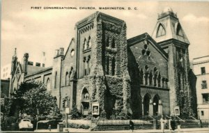 Vtg Postcard 1940s Artvue Washington DC - First Congregational Church
