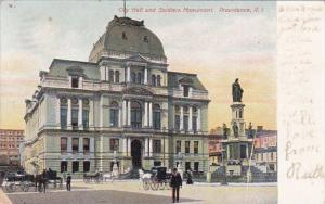 Rhode Island Providence City Hall And Soldiers Monument 1907