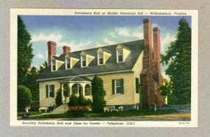 Providence Hall, Williamsburg, Virginia unused Curteich linen Postcard