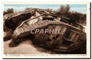 Old Postcard The Pompelle German attack of 15 July 1918 Lotte tank
