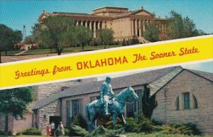 Greetings From Oklahoma Showing State Capitol and Will Rogers Memorial