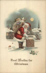 Christmas - Santa Claus on the Roof Lightly Embossed c1910 Postcard