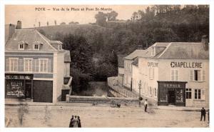France  Poix  Vue de la Place et Pont St.martin