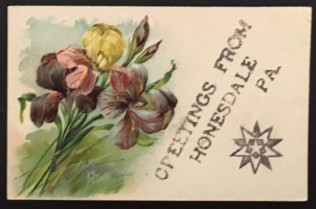 Greetings from Honesdale PA 1907 Embossed/Glitter