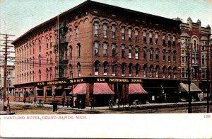 Michigan Grand Rapids Pantlind Hotel and Old National Bank 1907