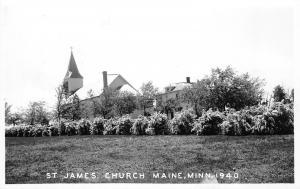 Maine Minnesota~Shrubs in Field Before St James Roman Catholic Church RPPC c1927