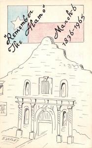 A33/ Artist Signed Postcard Ed Lafley Agawam Mass. HAND-DRAWN 1965 The ALAMO 23