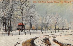 Van Wert Ohio~3rd Ward Park in Winter~Snow on Ground-Trees~c1910 Pc