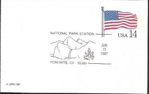 US UX117 Unused. US Flag,  Nat. Park Station - Yosemite, California