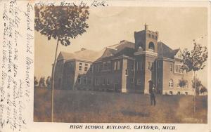 D59/ Gaylord Michigan Mi Real Photo RPPC Postcard c1910 High School Building