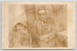 Real Photo Postcard~Little Girl Holds Steiff Teddy Bear~Grandpa~c1912 RPPC