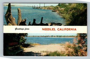 Needles CA, Banner Greetings, Rainbow Beach, River, Chrome California Postcard