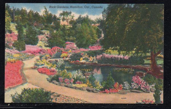 Hamilton Ontario  colour PC Rock Gardens unused