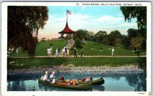 Detroit, Michigan Postcard Cedar Mound, BELLE ISLE PARK Canoes 1935 Cancel
