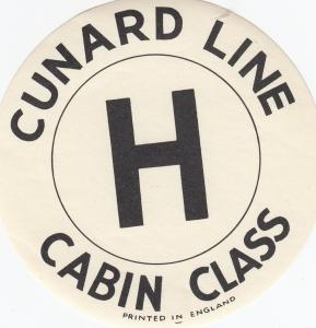 CUNARD LINE Cabin Class H Label