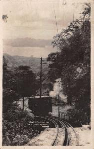 Rio de Janeiro Brazil~Corcovado Mountain~Electric Trolley Train~Bridge~1930 RPPC