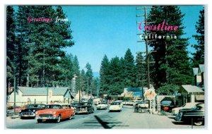 CRESTLINE, California CA~ STREET SCENE 1950s Cars San Bernardino County Postcard