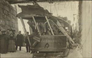 Pittsfield MA Wrecked Trolley Car People Close-Up c1910 Real Photo Postcard