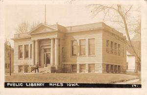 Ames Iowa~Carnegie Public Library~Douglas Avenue~Houses~c1913 Real Photo~RPPC