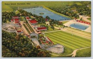 Cincinnati OH~Defunct Coney Island~Roller Coasters~Entrance~Ferris Wheel~Linen
