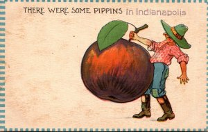 Indiana Indianapolis Man Carrying Apple There Were Some Pippins 1912