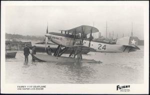 British Two-Seat General-Purpose Biplane Fairey 111F Seaplane F977 Flight RPPC
