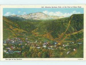 Unused W-Border AERIAL VIEW OF TOWN Manitou Springs Colorado CO p0206