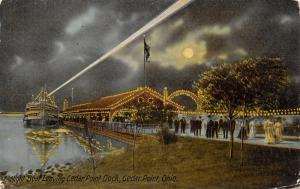 Cedar Point Ohio~Night Lights~String Bulbs on Dock~Steamer at Landing~1910 PC
