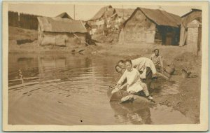 Vintage Asia RPPC Real Photo Postcard LAUNDRY SCENE Women River Washing c1910s