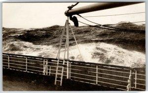 RPPC Closeup of Sailing Ship~Swinging Sail Arm & Railing~Sea Billows Roll~1930s?
