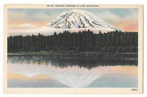 WA Mt Ranier Mirrored in Lake Spanaway Vintage Linen Postcard Washington