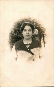 Vtg Postcard 1904-18 AZO - Portrait of Young Woman w Flower in Her Hair Unused