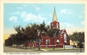 Oklahoma OK Postcard c1910 TONKAWA St Joseph Catholic Church Building