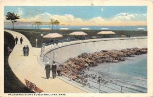 Lynn Massachusetts~Promenade Along Boulevard~Victorian Ladies Walking~1917 Pc