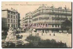 Old Postcard Montpellier Place de la Prefecture entrance to the Rue Nationale