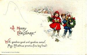 Greeting - Christmas.  Artist: F. Brundage  (Gabriel Series 219)
