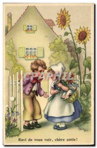 Old Postcard Fantasy Illustrator Child Nice to see you dear friend