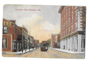 Cape Girardeau Missouri Broadway  Bowman Co & Hardware Sign, Trolley