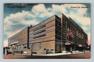 Kansas City MO, Municipal Auditorium, Linen Missouri Postcard