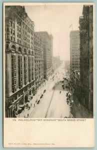 Philadelphia PA~South Broad Street Skyscrapers~Traffic on Narrow Road~1905 B&W