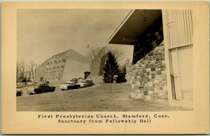 Stamford, CT Photo RPPC Photo Postcard First Presbyterian Church - Sanctuary