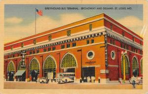 St Louis MO~Greyhound Bus Terminal~Bus Leaves Depot~Broadway @ Delmar~1945 Linen