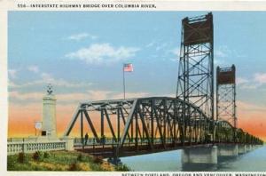 OR - Portland, Interstate Highway Bridge Over Columbia River Leading to Vanco...